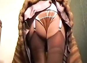 Stockings,Close-ups,Lingerie,Panties,satin Fur Coat Girdle...