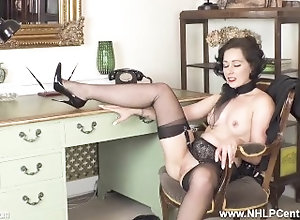 nhlpcentral;kink;masturbate;petite;nylons;panties;brunette;secretary;office;fingering;high-heels;fetish;small-tits;garter-belt;retro;glamour,Babe;Brunette;Fetish;Masturbation;Small Tits;British;Solo Female;Female Orgasm Sexy secretary...