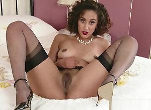 Ebony,Vintage,Classic,Retro,Lingerie,Stockings,High Heels,Ebony,Nylon,Panties,Perfect,Raunchy Ebony slut peels...