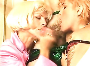 Facial,Red Head,Vintage,Classic,Retro,Threesome,Handjob,Cumshot Two Mature Moms...