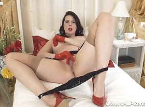 nhlpcentral;masturbate;kink;big-boobs;mom;mother;nylons;lingerie;brunette;big-tits;fingering;high-heels;stockings;lace-gloves;milf;retro;british,Big Tits;Brunette;Fetish;Masturbation;MILF;Pornstar;British;Solo Female,Karina Currie Hot busty Milf...